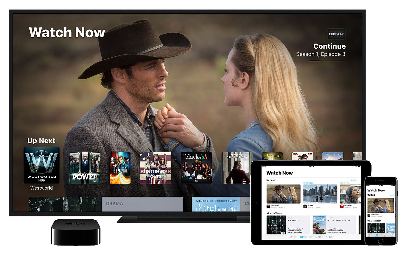 Mockup of the new TV app for Apple TV, iPhone, and iPad