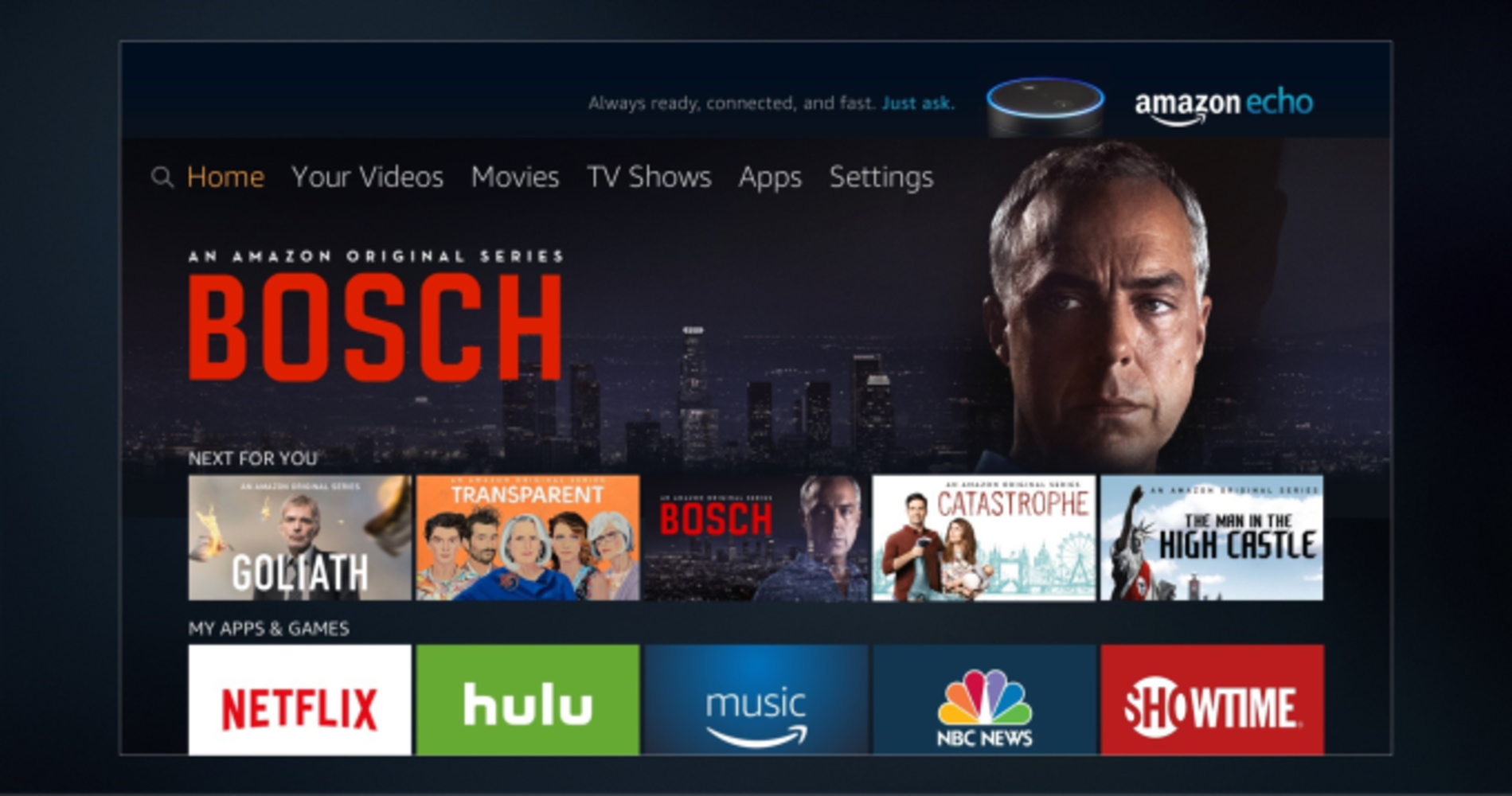 New interface of Amazon Fire TV