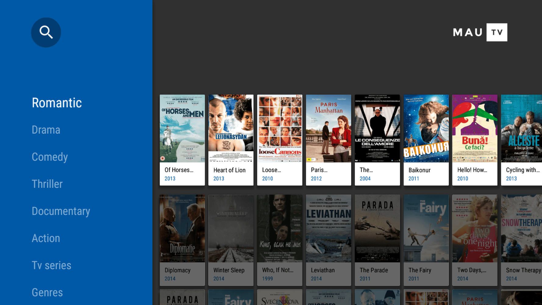 BrowseFragment in MauTV OTT application for Android TV