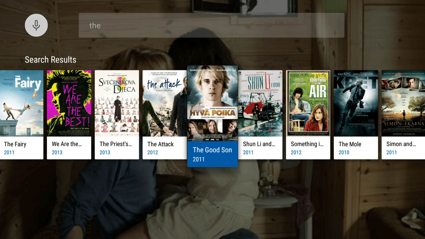 SearchFragment in MauTV OTT application for Android TV