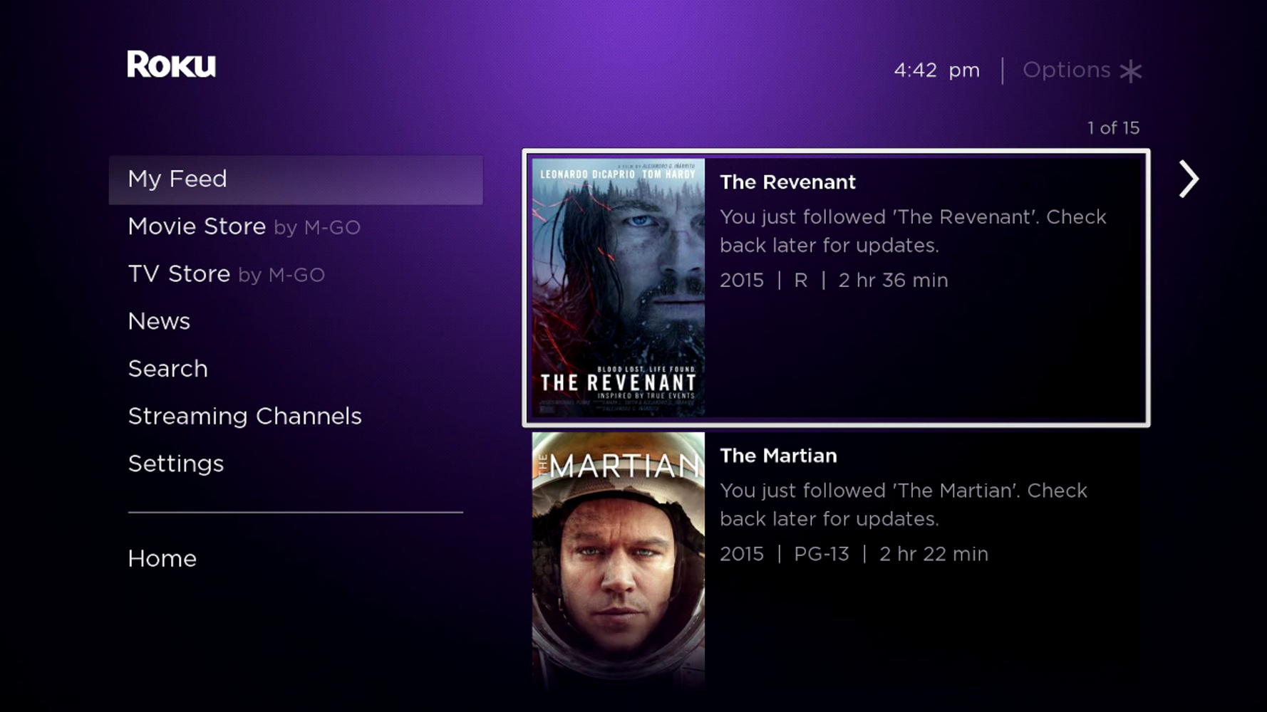 My Feed interface on Roku