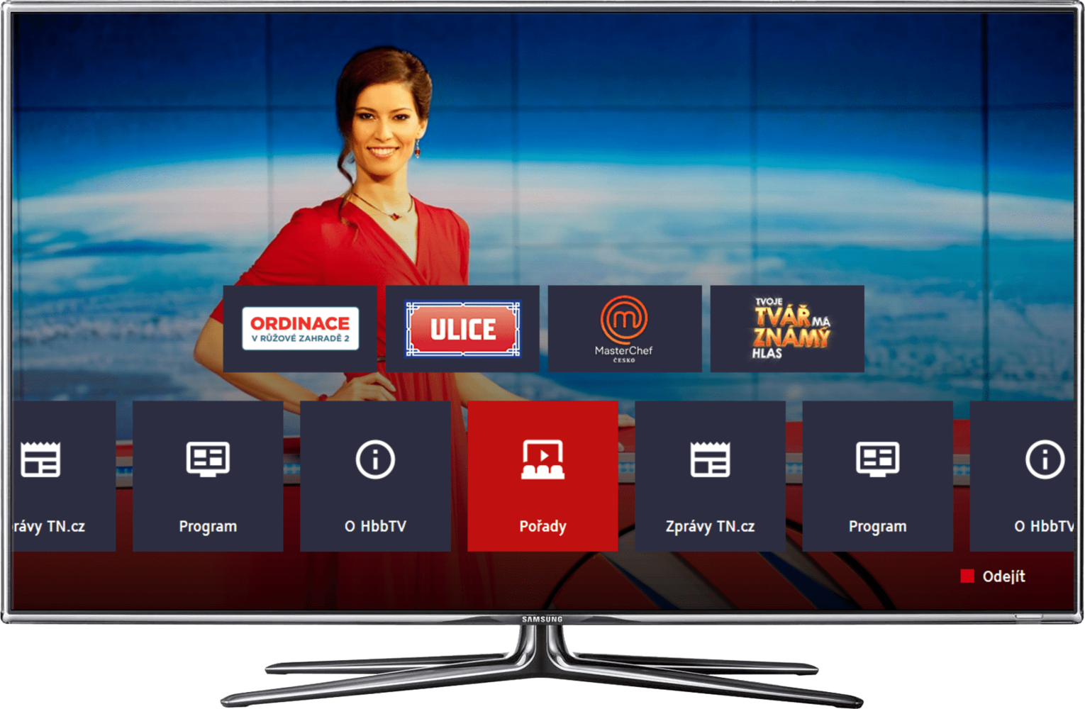 Main screen of TV Nova HbbTV application